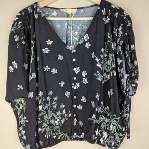 NWT Love Stitch Gray Floral Tie Sleeve Top